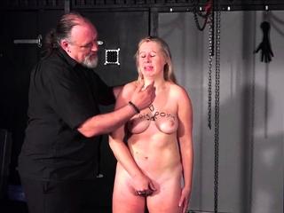 Brutal tit spanking to tears