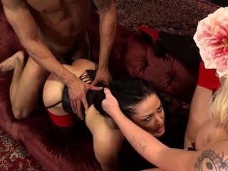 Busty slaves share Latin big dick