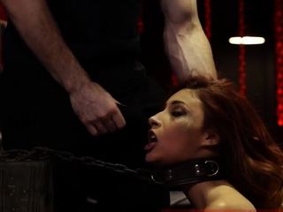 Extreme close up blowjob and outdoor bondage woods first