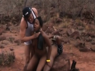 2 African babes acquire spanked together with whipped apart from 2 dudes open-air