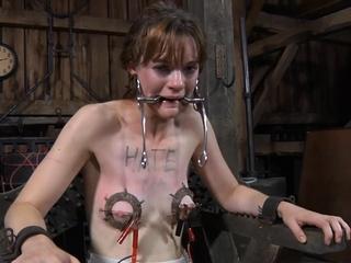 Racy redhead girlie is posing in lingerie