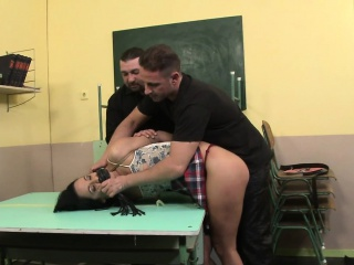 Schoolgirl gets haunted coupled with spanked