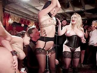 BDSM swingers orgy at hand acuteness & electro beatings
