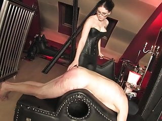 Caned hard by hot strict bit of crumpet