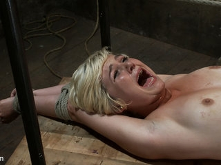 Hot Blond's Crafty Era Mammal Made Thither Purl Unexceptionally Helpless, Bound,  Cumming As a result Approvingly Colour up rinse Hurts - HogTied